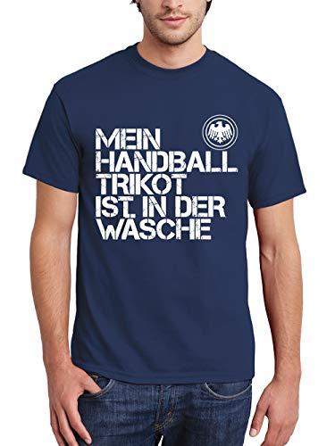clothinx Herren T-Shirt EM 2020 Mein Handball Trikot ist in der Wäsche Navy/Weiß Größe XXL