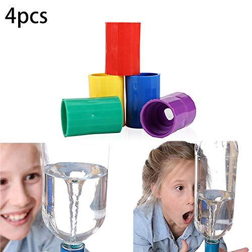 4pcs Bottle Connectors Tornado Connector Cyclone Tube Creative Design Vortex Bottle Connector Novelty Tornado Maker Science Toy for Scientific Experiment and Test (Yellow Purple Red and Green)