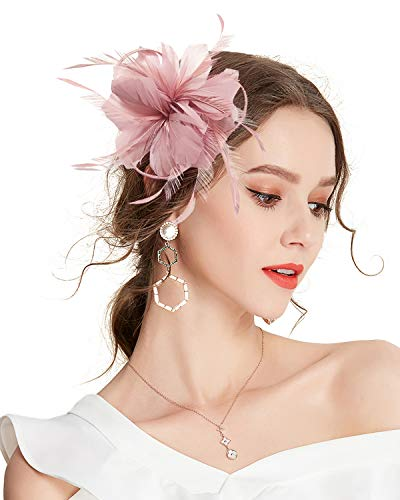 Z&X Women Feather Flower Wedding Fascinators Royal Ascot Race Hat with Hair Clip Brooch Nude Pink