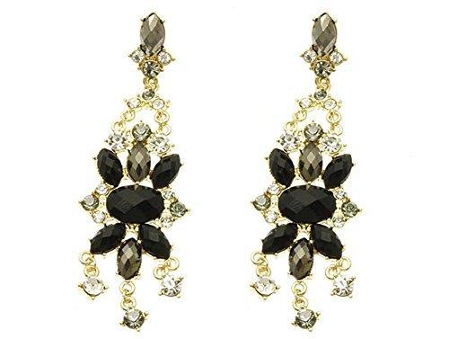 beyou tiful Things 1par Pendientes Mujer de acero inoxidable dorado flores de piedras Después de Shou rouk Longitud: 8.3cm