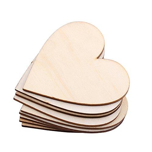 10 Stück Holzherzen Holz Herzform Verschönerung leere hölzerne Herz Verzierungen für Hochzeiten Plaques Kunst Handwerk Karte machen oder Dekoration (80mm)