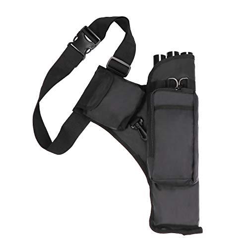 Coolty Caza al Aire Libre Flecha Tiro con Arco Carcaj 3 Tubos con Bolsillos y Correa Ajustable para Uso en la Espalda o la Cintura (Negro)