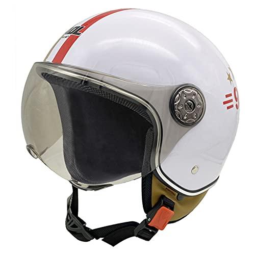 Adulto Retro Open Face 3/4 Motocicleta Medio Casco Con Parasol Verano Vintage...
