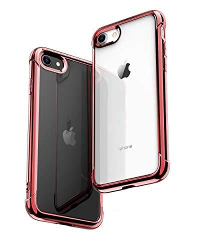 ONES ローズゴールド·メッキ·全透明 iPhone SE / 8 / 7 ケース 耐衝撃 超軍用規格 『エアバッグ、半密閉音室、Qi充電』〔滑り止め、すり傷防止、柔軟〕〔美しい、光沢感、軽·薄〕 衝撃吸収 HQ·TPU クリア カバー