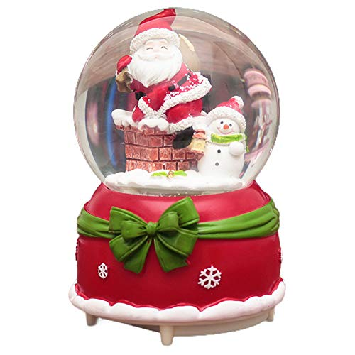 HIKEL Music Box Snow Globes Santa Claus with Snowman Luminous Water Globe for Childrens Girls Gift Christmas Day Best Gifts