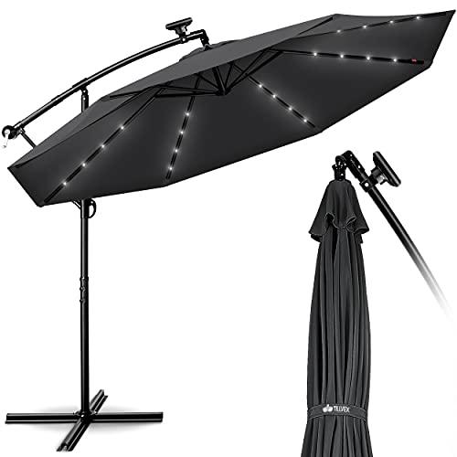 tillvex Alu Ampelschirm LED Solar Ø 300 cm mit Kurbel Anthrazit | Sonnenschirm mit An-/Ausschalter | Gartenschirm UV-Schutz Aluminium | Kurbelschirm mit Ständer Marktschirm wasserdicht