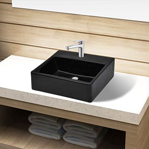 Festnight- Keramik Waschbecken | Aufsatzwaschbecken mit Hahnloch | Handwaschbecken Waschschale Schwarz 380 x 300 x 115 mm (B x T x H)