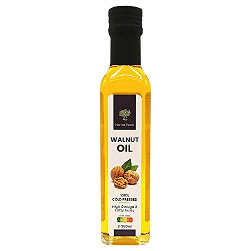 Aceite de Nuez 250 ml Hortus Verdi - Prensado en frío - 100% Natural - Origen UE - Vegano CRUDO - Virgen Extra - Sin refinar - Sin gluten - Dulces - Postres - Productos horneados - Gourmet (250)