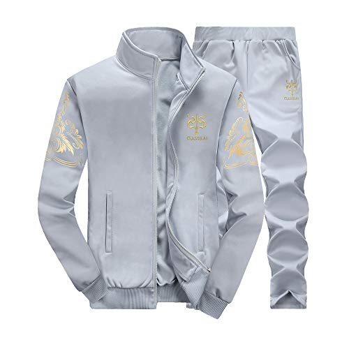 LoveLeiter MäNner Herbst Winter Verdicken Sweatshirt Top Hosen Sets Sport Anzug Trainingsanzug Herren Academy Tracksuit Jogginganzug Man Sportanzug Freizeitanzug Hausanzug (Grau, XL)