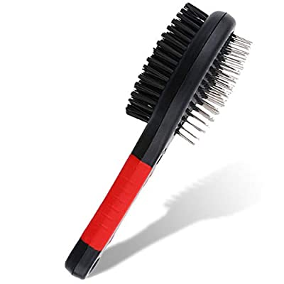 2 in 1 Double Sided Dog Brush | Cat Brush | Puppy Brush | For Dog Grooming Kit | Pet Hair Remover Brush | Pet Brush | Dog Brushes for Grooming Products for Dogs Cats Pets (Red)