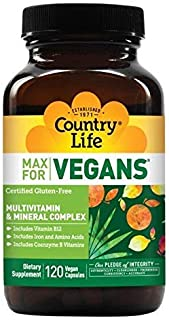 Country Life Max for Vegans - 120 Vegan Capsules - May Help Support Overall Health and Well-Being - Contains Vitamin B12, ...