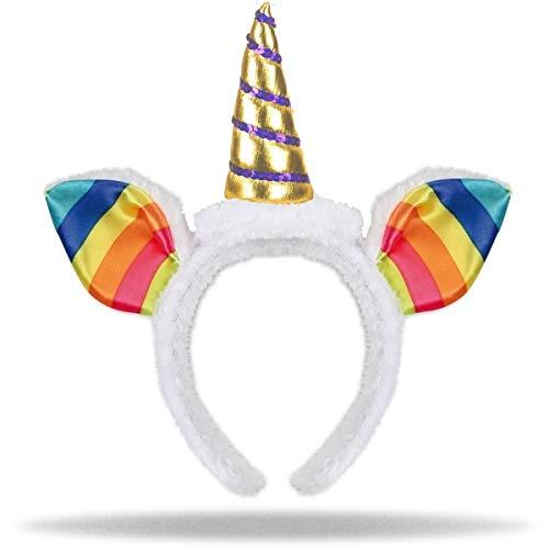 Einhorn Haarreif aus Plüsch mit Ohren | Horn in Gold | Unicorn Headband | Damen Mädchen Kinder Haarreifen