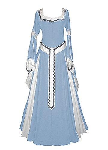 Misassy Damen Mittelalter-Kleid, Renaissance-Kostüme, irisches Over-Lang-Kleid, Cosplay, Retro-Kleid - Blau - X-Large