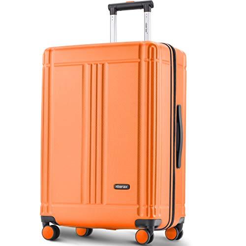 BHNACM Laptop Luggage Orange Lightweight Hard Shell 4 Wheels Suitcases With TSA Lock Luggage Set