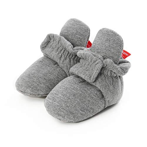 EDOTON Unisex Neugeborenes Schneestiefel Weiche Sohlen Streifen Bootie Kleinkind Stiefel Niedlich Stiefel Socke Einstellbar (12-15 Monate, D_ Dunkelgrau)