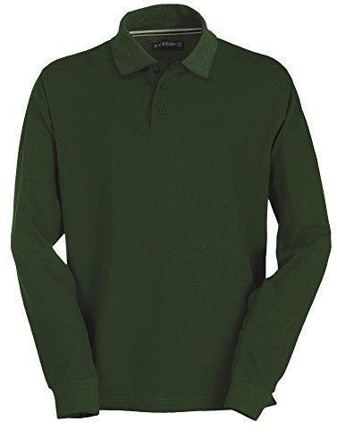 Herren Langarm Polohemd Baumwoll Piquet Hockey Green XL