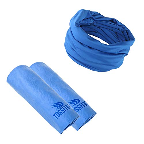 TOSSFIRE Cooling Towel and Cooling Headband, Cool Neck Wrap Scarf for Instant Cooling Relief, Soft Ice Towel Chilly Cloth for Yoga Sport Running Gym Camping Workout Fitness and Outdoor Activities