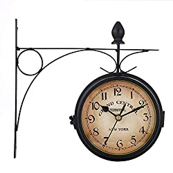 Outdoor Wall Clock, Hanging Iron Retro Double Sided Wall Clocks Battery Powered Metal Mount 8 Inch Vintage Garden Coffee Bar Decoration Round Station Clocks(Not Include Battery),Black