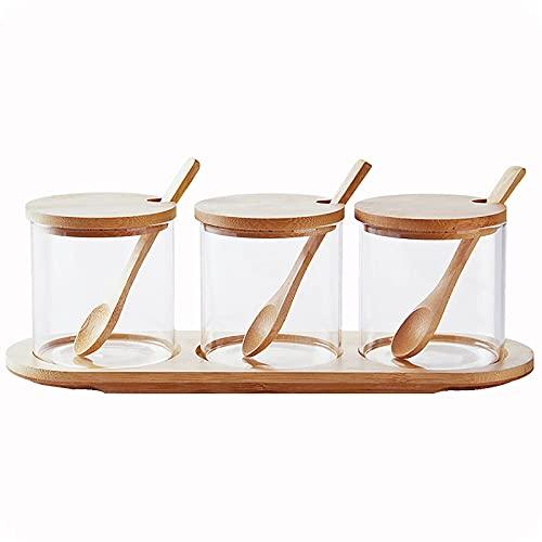 Creature Jar Sets Kruidendoos met Bamboe Deksel Glas Kruidendoos,Houten Lepel en Bamboe Lade,Set van 3 Kruiden potten…
