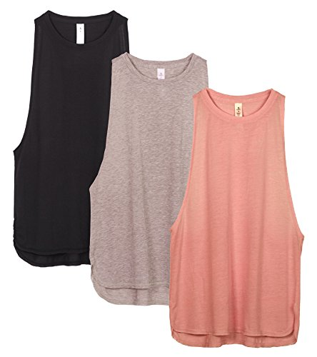 icyzone Workout Tank Tops for Women - Running Muscle Tank Sport Exercise Gym Yoga Tops Athletic Shirts(Pack of 3)(XS,Black/Beige/Pale Blush)