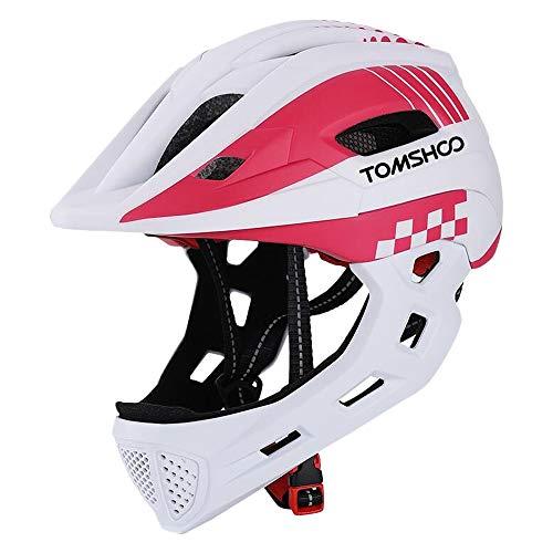 TOMSHOOH Casco integral de bicicleta para niños Casco de patinaje de seguridad para niños Casco de patinar Protector de cabeza deportiva con luz trasera y mentón desmontable-(Blanco)