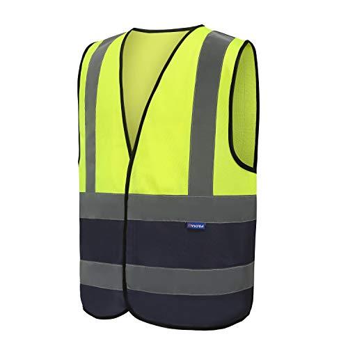 6 Farben Auto Warnweste, Sicherheitsweste, Pannenweste für Auto, Fahrrad, Waschbar, Knitterfrei Herren Auto (XXL, Gelb+Marineblau)
