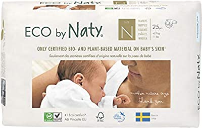 Eco by Naty, Size Newborn, 100 Diapers, -4.5kg, ONE MONTH supply, Plant-based premium ecological diaper with 0% oil plastic on skin.