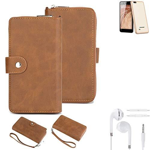 K-S-Trade® Handy-Schutz-Hülle Für Blaupunkt SL 04 + Kopfhörer Portemonnee Tasche Wallet-Case Bookstyle-Etui Braun (1x)
