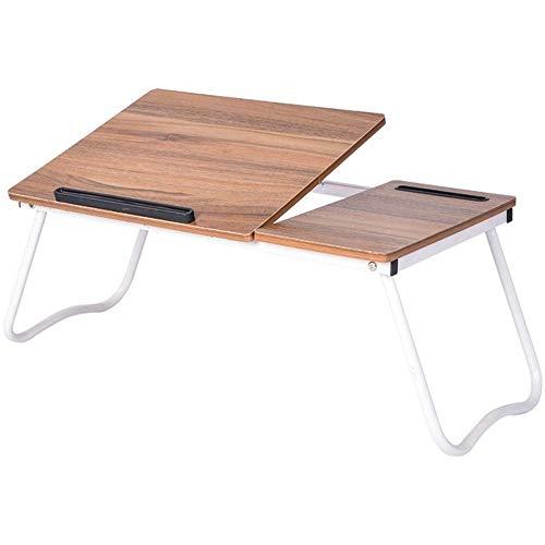 JIAHE115 Eenvoudige opklapbare tafel HJCA Tafel - Verstelbare Computer Bureau Draagbare Houten Laptop Opvouwbare Bed Tafel Slaapzaal Lazy Bed Bureau - Oude Eiken Kleur 64 * 36 * 27CM Outdoor camping bijkeuken tafel