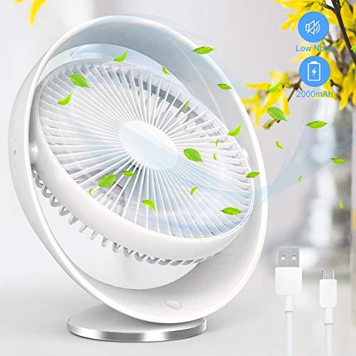 TedGem USB-ventilator, mini, USB-aansluiting, klein, ventilator, batterij, tafelventilator, 3 snelheden, voor op bureau, thuis, kantoor en in de kamer, 2000 mAh batterij
