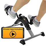 Vive Desk Bike Cycle - Foot Pedal Exerciser - Foldable Portable Foot, Hand, Arm, Leg Exercise Pedaling Machine - Folding Mini Stationary Bike Pedaler, Fitness Rehab Gym Equipment (Silver)