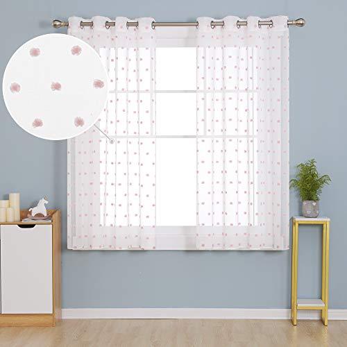 Deconovo Stores Gardinen Blätter Vorhang Ösenvorhang Leinenoptik Kinderzimmer Mädchen 138x140 cm Pink 2er Set