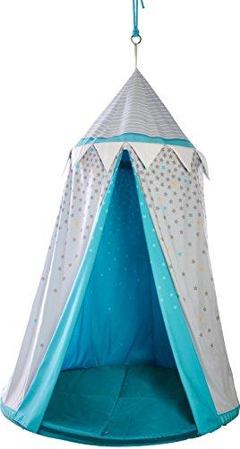 HABA 303859 - Hängezelt Sternenhimmel | Bezauberndes Zubehör fürs Kinderzimmer | Mit gepolsteter Bodenmatte