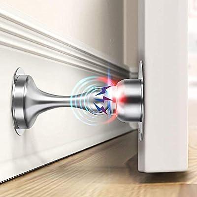 Door Stopper, 2 Pack Magnetic Door Stop, Stainless Steel, Magnetic Door Catch, 3M Double-Sided Adhesive Tape, No Drilling, Screws for Stronger Mount, Hold Your Door Open, 2 Pack for Wide Doors