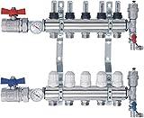 SANITLINE Distribuidor de circuito de calefacción con caudalímetro Topmetro, válvulas de bola, termómetro NORDIC - 5 circuitos de calefacción