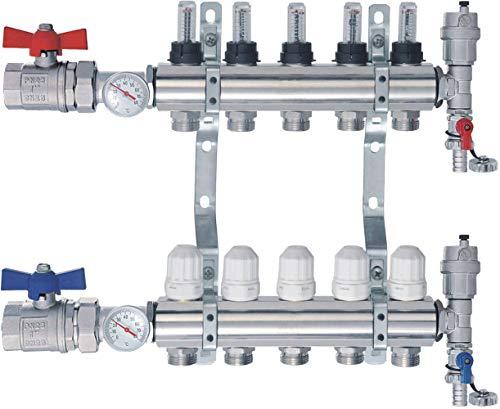 SANITLINE Distributore circuito riscaldamento con flussometro Topmeter, valvole a sfera, termometro NORDIC- 5 circuiti riscaldamento