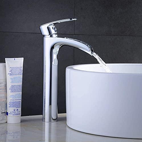 Solina Grifo de lavabo alto, color blanco, acabado cascada, monomando, cromado, 1 agujero, tapa de montaje para inodoro, grifo mezclador alto (cromado)