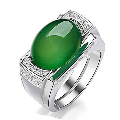 PINGGUO Vintage Esmeralda Ágata Verde Jade Piedras Preciosas Diamantes Anillos Para Hombres Oro Blanco Plata Color Argent Joyería Bague Anillos Arabia