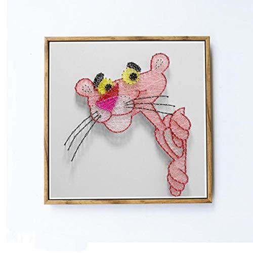 Diy handgemaakte string zijde schilderij bruin fotolijst nagel kronkelende huisdecoratie schilderij 30 * 30cm