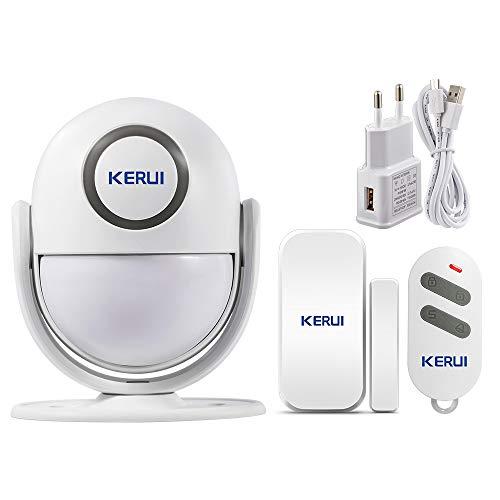 KERUI PIR Bewegungsmelder Alarm mit Fernbedienung 120 dB Infrarot WiFi Bewegungssensor mit Sirene Alarmanlage Sicherheitstechnik Einbruchschutz für Haus Büro Wohnungen Wohnmobil Alarmanlage für Haus