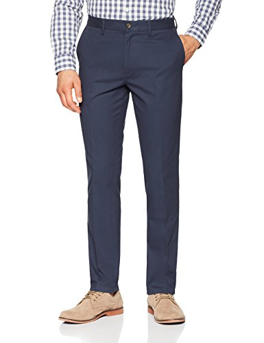 Amazon Essentials Men's Slim-Fit Wrinkle-Resistant Flat-Front Chino Pant, Navy, 34W x 32L