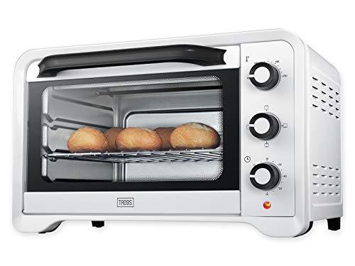 Trebs 99357 mini-oven met 3 functies 28 liter, 1600 watt, wit, 49, 6 x 38, 8 x 31 cm