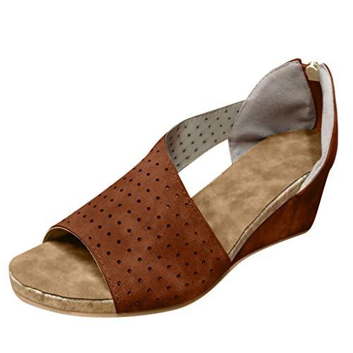 COZOCO Damenmode Wedges Schuhe Flacher Mund Peep Toe Sandalen Casual Strandschuhe Römersandalen(braun,38 EU)