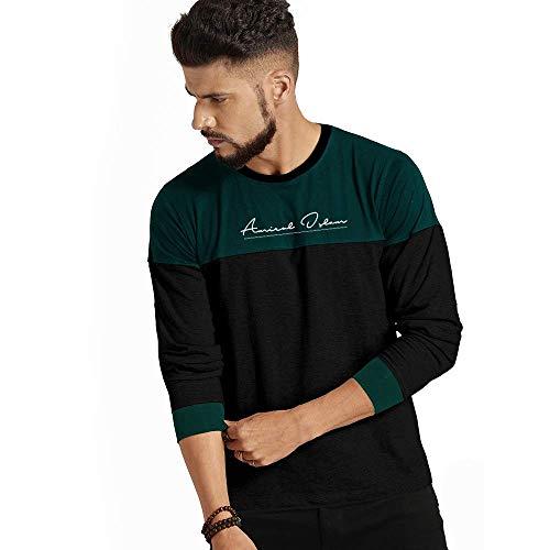 Design Cafe Dual Colour Full Sleeves Printed Signature Round Neck Cotton T-Shirt for Men's (Dark Green & Black, 38 Medium (M))