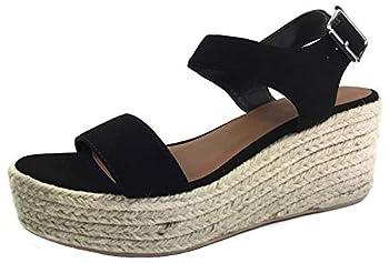City Classified Womens Wedge Espadrilles Jute Rope Trim Ankle Strap Open Toe Sandals  6 Black