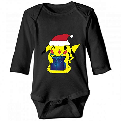 Christmas Pikachu Unisex Baby Round Neck Long Sleeve Bodysuit, Fashion Casual Baby Climbing Suit 18M