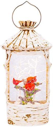Birch Bird House Lit Swirl With Cardinal White 11 x 6 Acrylic Holiday Globe product image