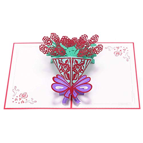 Paper Spiritz Couple Flower 3D Pop Up Greeting Card for Mom Wife, Mother's Day Card, Thank You Card, Handmade Birthday Anniversary Card, I Love Mom Card with Envelope for Christmas Thanksgiving Day