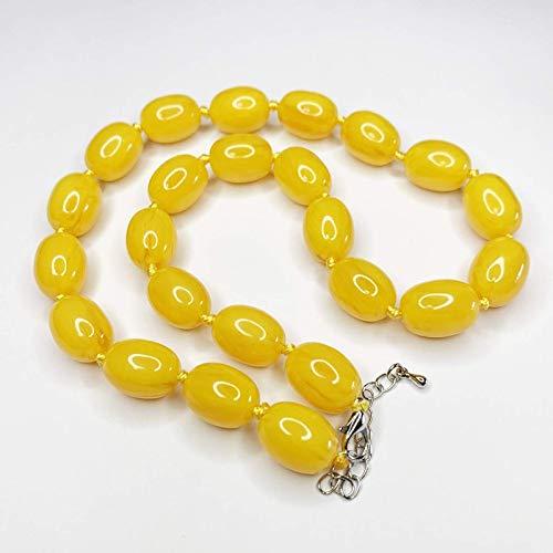 JONJUMP Collar de perlas Bodhi de resina con forma de mezcla de ámbar de oración de cadena corta gargantilla de cera de abejas sintética cadena budista