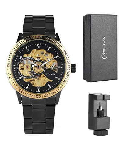 Skelett-Armbanduhr für Herren, analog, automatisch, mechanisch, mit Edelstahlarmband, Geschenk für Männer
